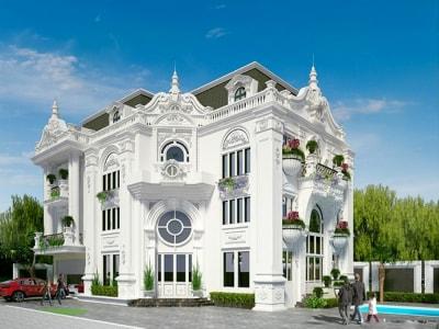12 mẫu thiết kế biệt thự 3 tầng đẹp mê mẩn kiểu Pháp