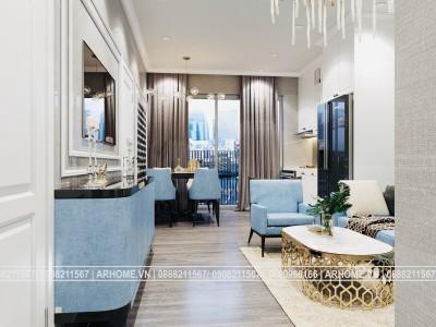 Đẹp xuất sắc với thiết kế nội thất căn hộ 2 phòng ngủ CT1A, CT1B Iris Garden Tân Cổ Điển