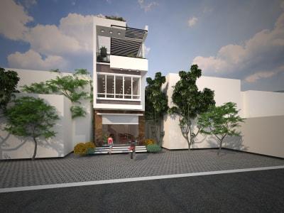 Cuốn hút với mẫu nhà phố 3 tầng mái lệch