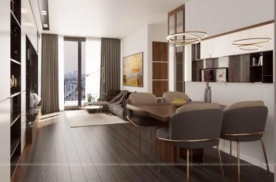 Hiện đại với thiết kế nội thất căn hộ chung cư Ecolife Tây Hồ 2 phòng ngủ