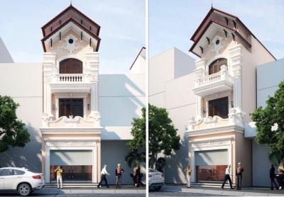 Ngỡ ngàng với Thiết kế nhà phố 3 tầng Tân cổ điển 4x15m của anh Phương