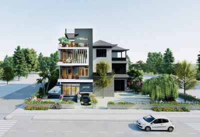 Top 2 mẫu thiết kế biệt thự 4 tầng 2 mặt tiền siêu chất được giới KTS đánh giá cao