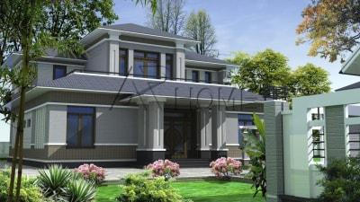 Sống xanh & mát dịu với thiết kế biệt thự 2 tầng mái thái phong cách nhà vườn