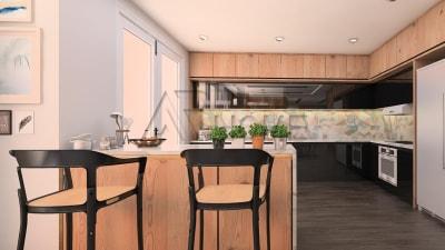 Ý tưởng thiết kế nội thất phòng bếp với màu sắc tương phản