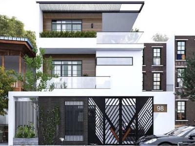 Mẫu Thiết kế nhà phố 3 tầng Hiện đại xu hướng 2020