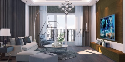 Vẻ đẹp cuốn hút của mẫu thiết kế nội thất phòng khách biệt thự nhà chú Hùng, Nghệ An và anh Hùng, Quảng Ninh