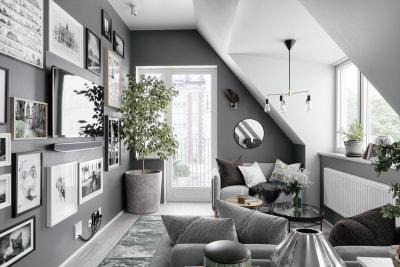 Ý tưởng thiết kế nội thất phòng khách màu xám không gian tuyệt đẹp