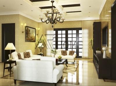 Mẫu thiết kế nội thất phòng khách màu vàng sang trọng, hiện đại