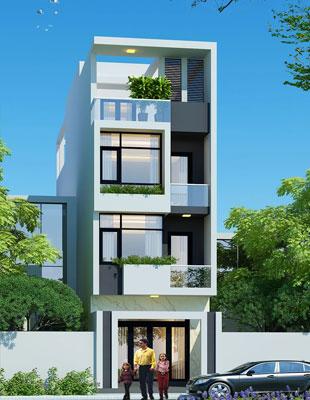Giải pháp thông minh cho mẫu nhà phố 4 tầng mặt tiền 5m thông thoáng