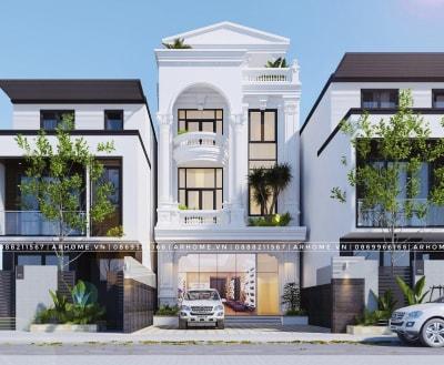 Thiết kế nhà 3 tầng đẹp Tân cổ điển kết hợp kinh doanh của Chú Đạt