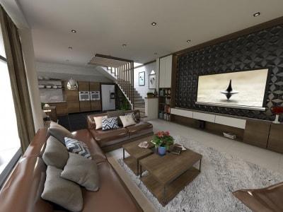 Vẻ đẹp ấn tượng trong mẫu thiết kế nội thất phòng khách biệt thự anh Nam