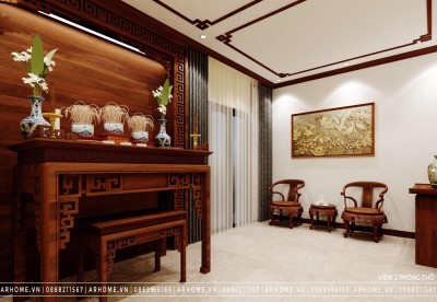 Cực chất với mẫu thiết kế nội thất phòng thờ gỗ tự nhiên cho nhà phố, liền kề