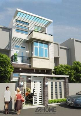Mẫu nhà phố 3 tầng 2 phòng ngủ mặt tiền 4m đẹp