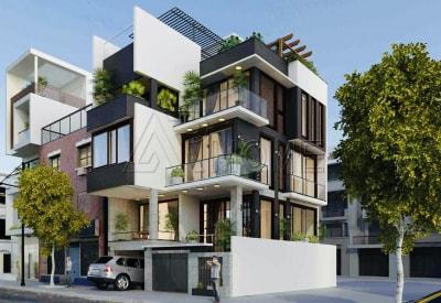 Gợi ý Thiết kế Liền kề 3 tầng hiện đại có gác lửng đẹp