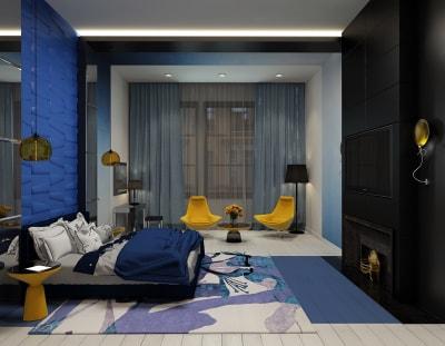 Những mẫu thiết kế nội thất phòng ngủ màu xanh dương ấn tượng năm 2018