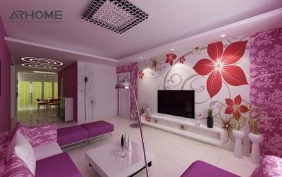 Xu hướng thiết kế nội thất phòng khách nhỏ với gam màu tím tuyệt đẹp 2018