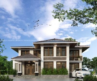 Độc đáo với mẫu biệt thự vườn 2 tầng mái thái Hà Nội