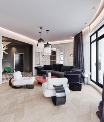 Ngôi nhà với những đồ nội thất có đường cong hút mắt