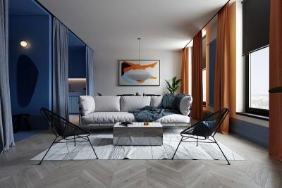 Ấn tượng căn hộ táo bạo kết hợp màu xanh da trời và da cam