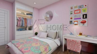 Mẫu thiết kế nội thất phòng ngủ màu hồng cho con gái