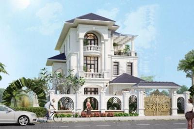Mẫu Thiết kế Biệt thự 3 tầng đẹp kiểu Pháp với màu sắc nhẹ nhàng