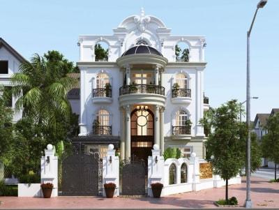 Mẫu thiết kế biệt thự 3 tầng phong cách Tân cổ điển đẹp mỹ mãn