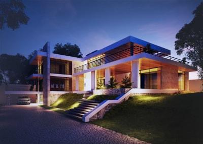 Thiết kế Biệt thự đẹp 2 tầng mái bằng hiện đại thanh thoát