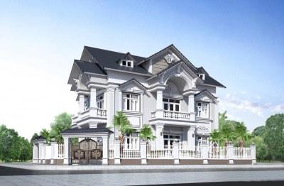 Mẫu thiết kế Biệt thự 2 tầng tân cổ điển trắng tinh khôi - đẹp tinh tế