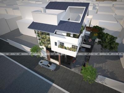 Hút hồn với mẫu biệt thự 3 tầng đầy màu xanh của anh Quốc ở Hà Nội