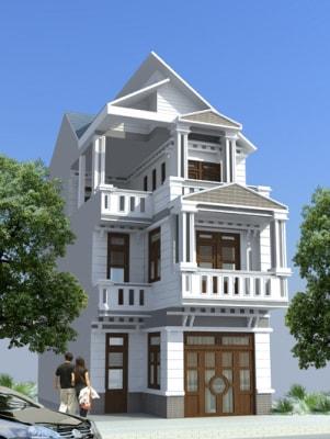 Nhà phố 3 tầng mái thái phong cách Tân cổ điển đẹp xuất sắc