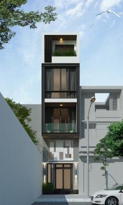 Gợi ý thiết kế nhà phố 4 tầng trên mảnh đất méo