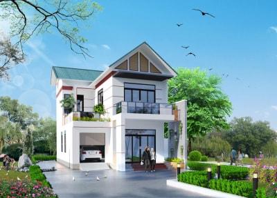 Mẫu thiết kế nhà 2 tầng mái thái mặt tiền 8m đẹp độc đáo