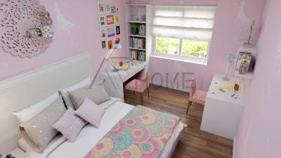 Thiết kế nội thất phòng ngủ với màu hồng xinh xắn