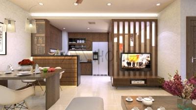 Giải pháp thiết kế nội thất phòng khách chung cư 18m2 tuyệt đẹp