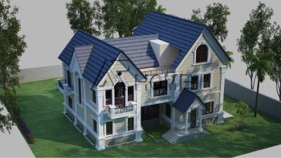 Thiết kế biệt thự 2 tầng 1 tum phong cách Châu Âu nhà anh Hùng