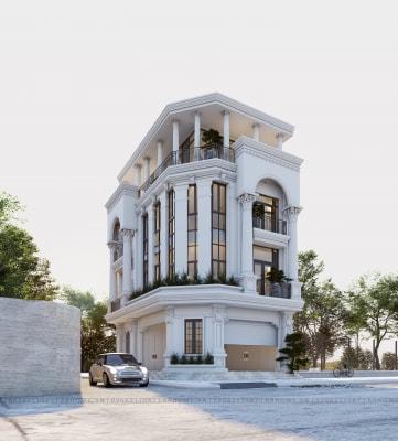 Mẫu Thiết kế biệt thự tân cổ điển 4 tầng tại Quảng Ninh