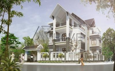 Mẫu thiết kế biệt thự 3 tầng mái dốc của anh Vùng, Tuyên Quang