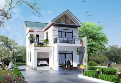 Tuyệt đẹp với mẫu nhà 2 tầng mái thái hình chữ L