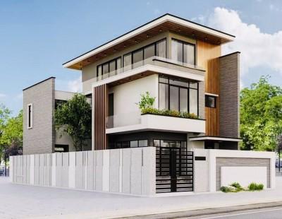 Mẫu nhà 3 tầng đẹp với 2 mặt tiền theo phong cách hiện đại