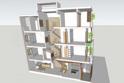 Mẫu Thiết kế nhà phố, Liền kề 4 tầng 40m2 đầy đủ tiện nghi