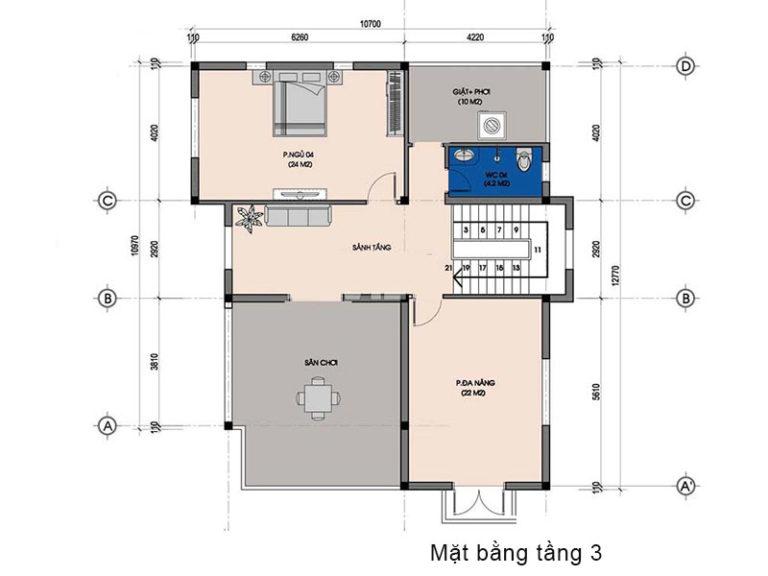 Chất lừ với mẫu thiết kế biệt thự 3 tầng bán cổ điển 10x12m siêu ấn tượng
