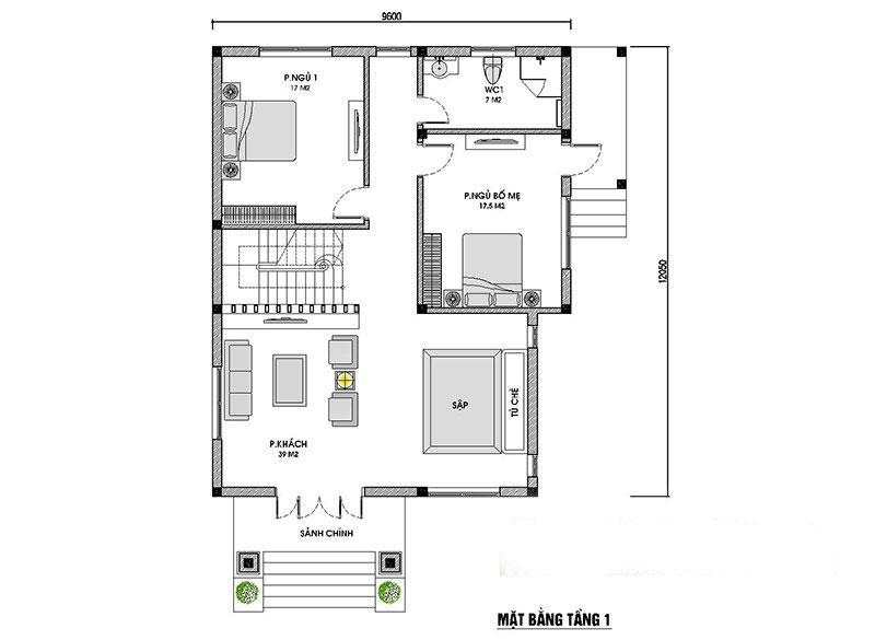 Top 3 mẫu thiết kế biệt thự 2 tầng mái thái tuyệt đẹp kèm bản vẽ