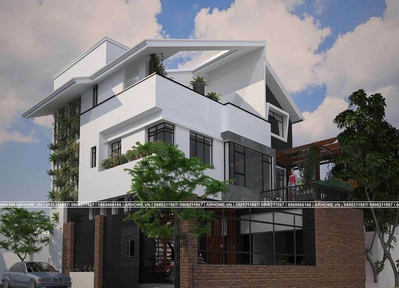 Hút hồn với mẫu thiết kế biệt thự 3 tầng đầy màu xanh của anh Quốc ở Hà Nội