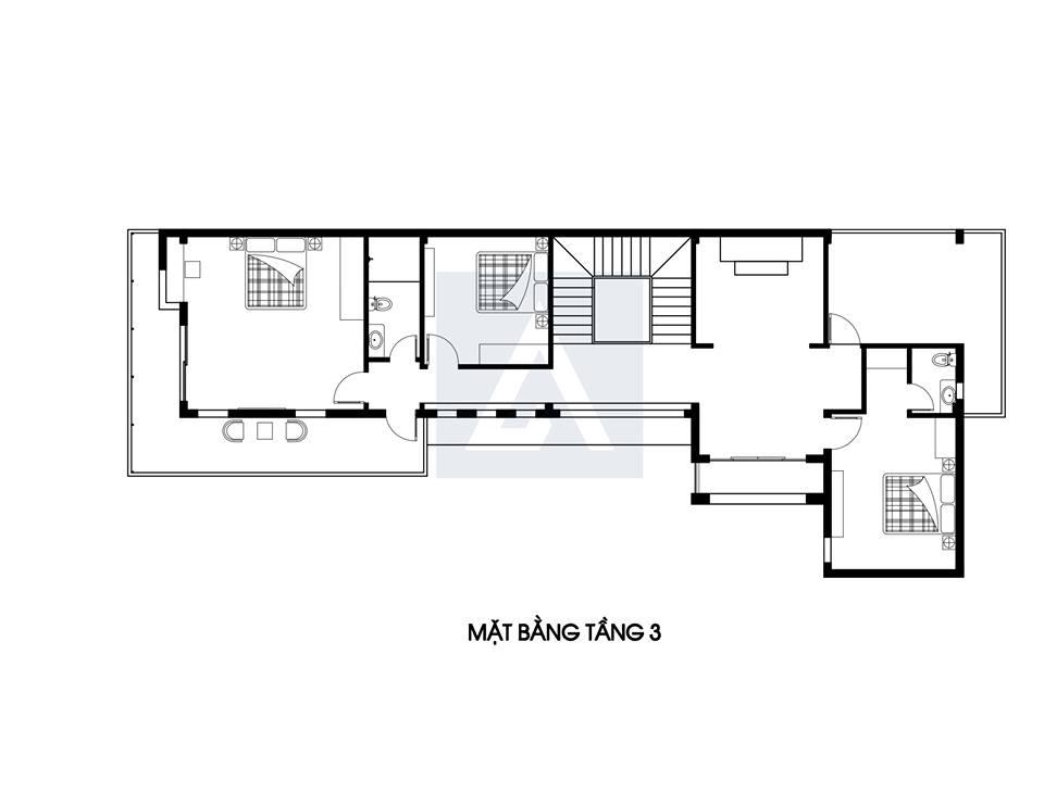Đẹp mắt với mẫu thiết kế biệt thự phố 3 tầng cao cấp của anh Một, Hà Nội