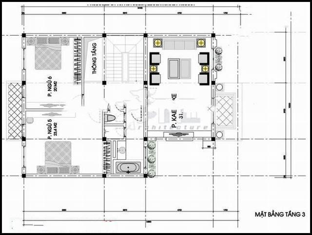Mẫu thiết kế biệt thự 3 tầng 11x15m kiến trúc Pháp