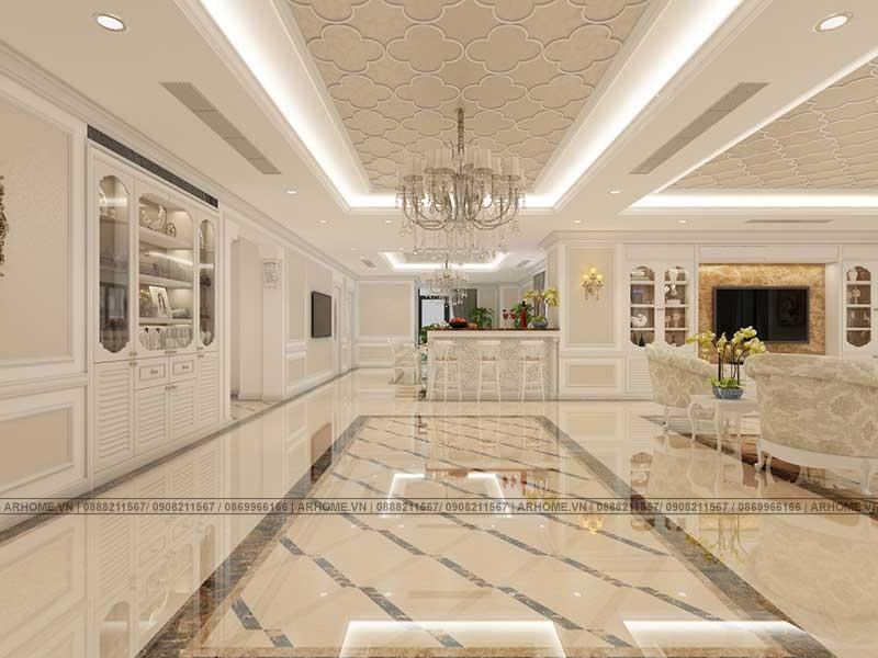 Mẫu phòng khách phong cách Tân cổ điển đẳng cấp, sang trọng, tinh tế.