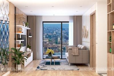 Thiết kế thi công nội thất chung cư Vinhome Skylake Phạm Hùng nhà anh Hoàng