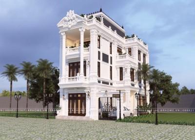 Tuyệt đẹp với thiết kế biệt thự 3 tầng 1 tum phong cách Tân cổ điển