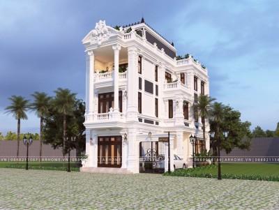Mẫu nhà tân cổ điển 3 tầng đẹp tuyệt với màu sơn trắng tinh tế