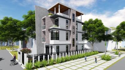 Mẫu thiết kế nhà phố 4 tầng 2 mặt tiền phong cách hiện đại tuyệt đẹp
